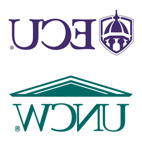 ECU and UNCW logos on top of each other