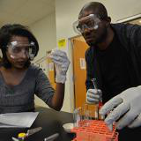 Male and female students performing chemistry experiment with test tubes